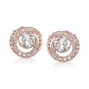 "Swarovski Crystal ""Generation"" Crystal Earrings in Rose Gold Plate, , default"