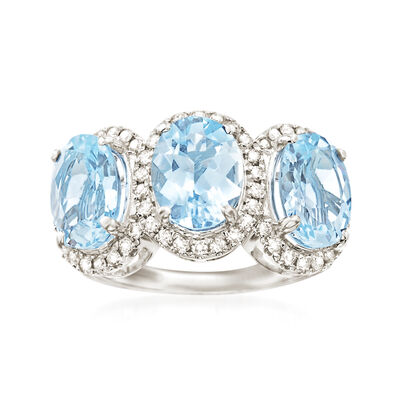 4.60 ct. t.w. Aquamarine and .41 ct. t.w. Diamond Ring in 14kt White Gold