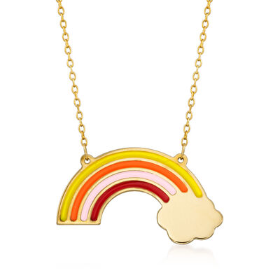 Italian Multicolored Enamel Rainbow Necklace in 14kt Yellow Gold