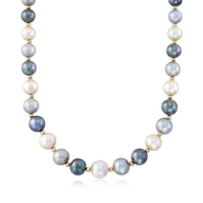 12-15mm Multicolored Cultured Pearl Necklace with 14kt Yellow Gold, , default