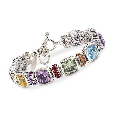 29.95 ct. t.w. Multi-Gemstone Toggle Bracelet in Sterling Silver, , default