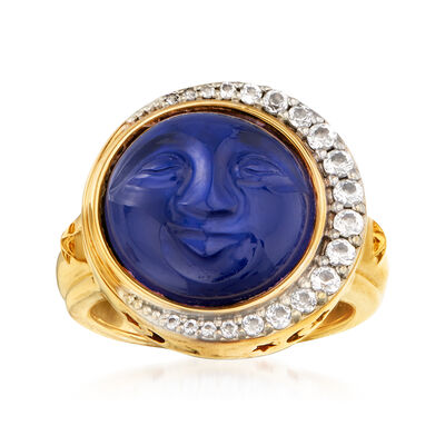 Blue Rock Crystal, Blue Mother-Of-Pearl and .40 ct. t.w. White Topaz Ring in 18kt Gold Over Sterling