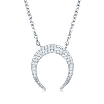""".25 ct. t.w. Pave CZ Crescent Horn Necklace in Sterling Silver. 16.75"""", , default"""