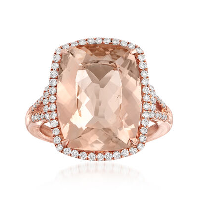 10.00 Carat Morganite and .41 ct. t.w. Diamond Ring in 14kt Rose Gold, , default