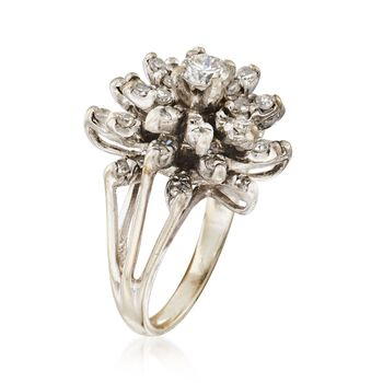 C. 1970 Vintage 1.60 ct. t.w. Diamond Floral Cluster Ring in 14kt White Gold. Size 4, , default