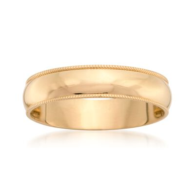 Men's 5mm 14kt Yellow Gold Milgrain Wedding Ring, , default