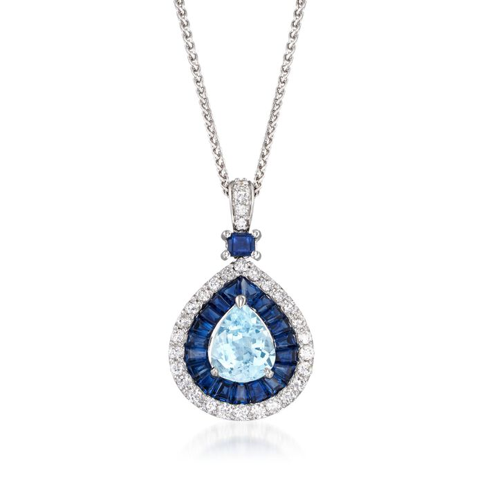 """3.70 ct. t.w. Multi-Stone and .60 ct. t.w. Diamond Necklace in 14kt White Gold. 18"""", , default"""