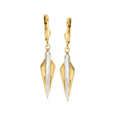14kt Yellow Gold Fan-Shaped Drop Earrings