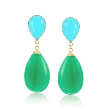 Turquoise and Green Jade Teardrop Earrings in 14kt Yellow Gold, , default