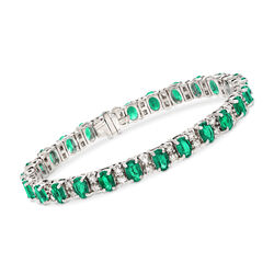 10.00 ct. t.w. Emerald and 2.15 ct. t.w. Diamond Bracelet in 14kt White Gold, , default