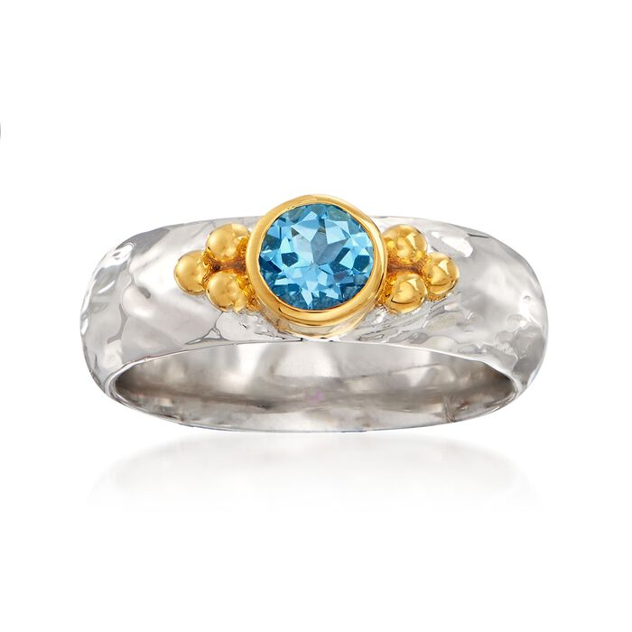 .50 Carat Swiss Blue Topaz Ring in Two-Tone Sterling Silver, , default