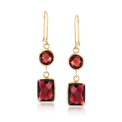 7.80 ct. t.w. Garnet Drop Earrings in 14kt Yellow Gold