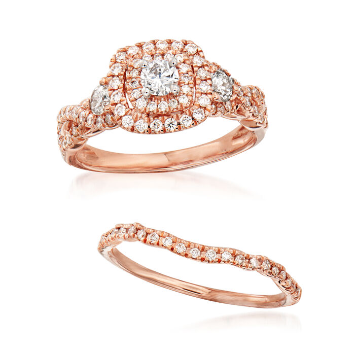 1.00 ct. t.w. Diamond Bridal Set: Engagement and Wedding Bands in 14kt Rose Gold