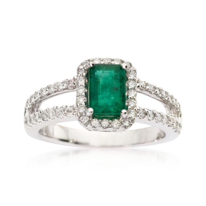 1.00 Carat Emerald and .35 ct. t.w. Diamond Ring in 14kt White Gold, , default