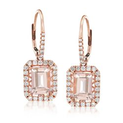4.20 ct. t.w. Morganite and .78 ct. t.w. Diamond Drop Earrings in 14kt Rose Gold, , default