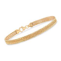 "Italian 18kt Yellow Gold Three-Row Wheat-Link Bracelet. 7"", , default"