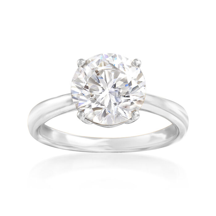 3.00 Carat CZ Solitaire Ring in 14kt White Gold, , default