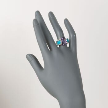 7.00 Carat Amethyst and Turquoise Ring with White Zircons in Sterling Silver