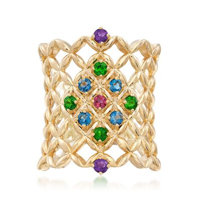 .65 ct. t.w. Multi-Stone Latticework Ring in 18kt Gold Over Sterling, , default