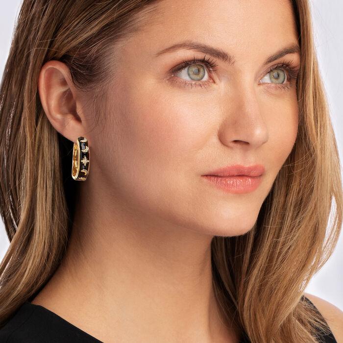 .40 ct. t.w. White Topaz and Black Enamel Celestial Hoop Earrings in 18kt Gold Over Sterling