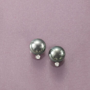 9-10mm Black Cultured Tahitian Pearl Earrings with .10 ct. t.w. Diamonds in 14kt White Gold, , default