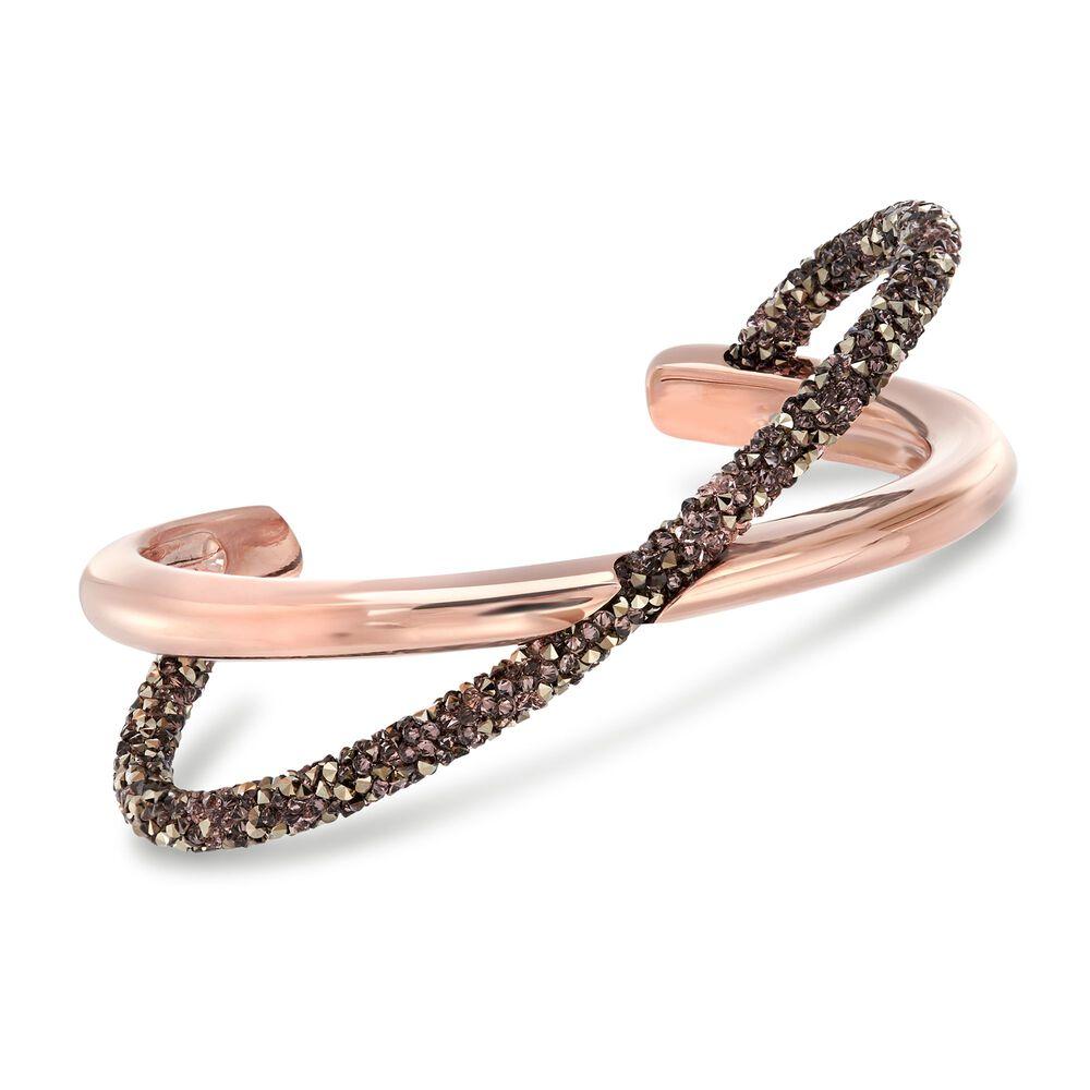 Swarovski Crystal Crystaldust Cognac Crisscross Cuff Bracelet In Rose Gold Plate
