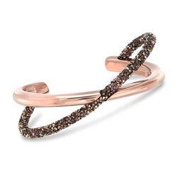 "Swarovski Crystal ""Crystaldust"" Cognac Crystal Crisscross Cuff Bracelet in Rose Gold Plate. 7"", , default"