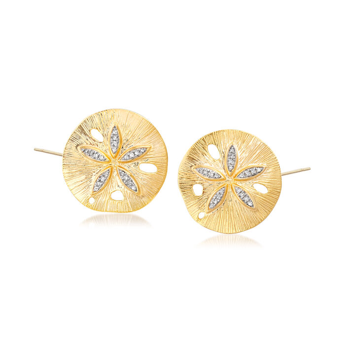 .10 ct. t.w. Diamond Sand Dollar Earrings in 18kt Yellow Gold Over Sterling Silver