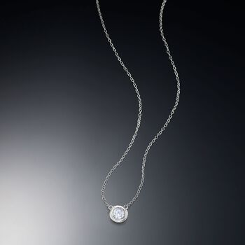 ".60 Carat Bezel-Set Diamond Necklace in 14kt White Gold. 16"", , default"