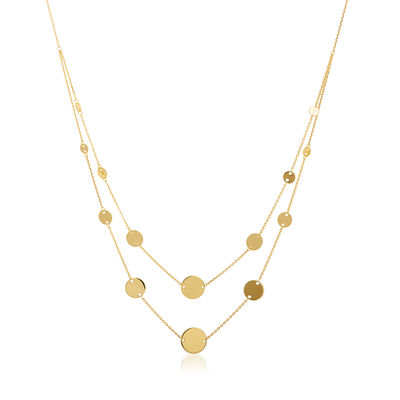 14kt Yellow Gold Graduated Disc Two-Strand Necklace, , default