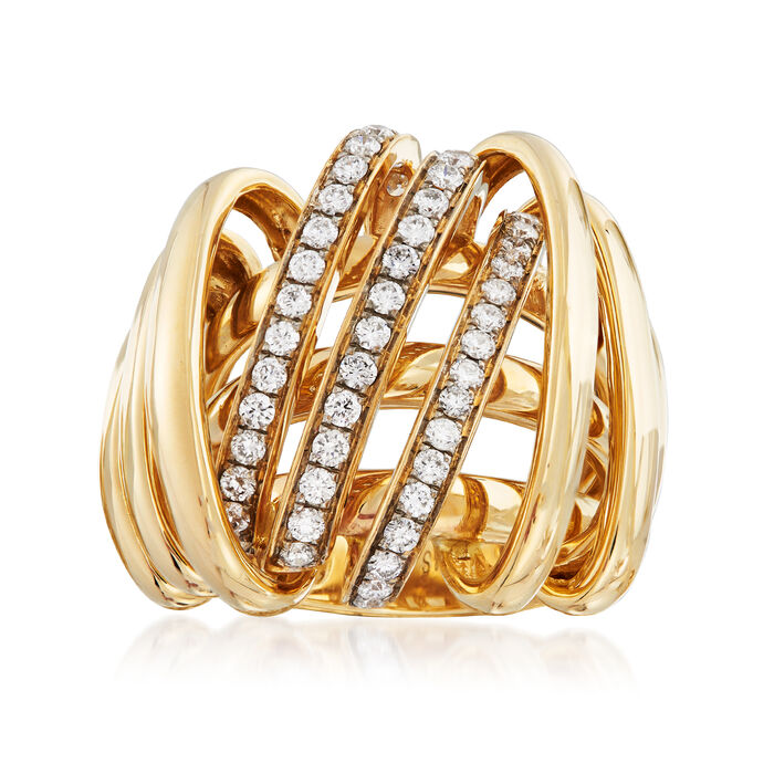 .95 ct. t.w. Diamond Multi-Line Ring in 14kt Yellow Gold. Size 5, , default