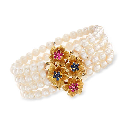 C. 1980 Vintage 5mm Cultured Pearl, .60 ct. t.w. Sapphire and .60 ct. t.w. Ruby Flower Bracelet in 14kt Yellow Gold