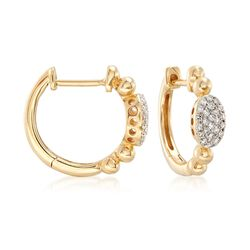 ".15 ct. t.w. Pave Diamond Hoop Earrings in 14kt Yellow Gold. 1/2"", , default"