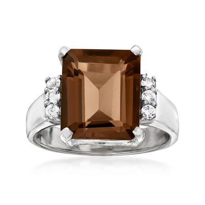 5.25 Carat Smoky Quartz and .20 ct. t.w. White Topaz Ring in Sterling Silver