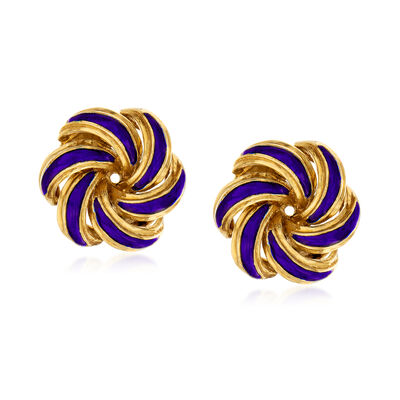 C. 1950 Vintage 18kt Yellow Gold and Blue Enamel Swirl Clip-On Earrings