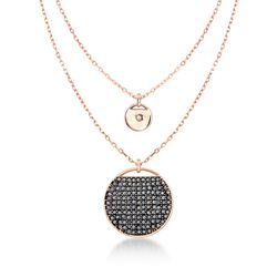 "Swarovski Crystal ""Ginger"" Gray and Clear Crystal Layered Disc Necklace in Rose Gold Plate, , default"