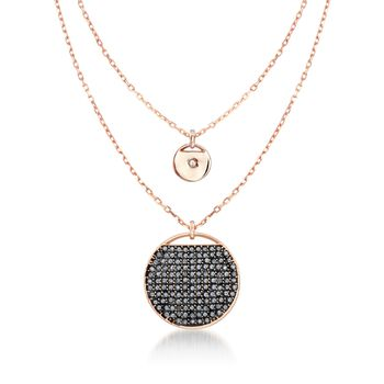 """Swarovski Crystal """"Ginger"""" Gray and White Crystal Layered Disc Necklace in Rose Gold Plate. 15"""" , , default"""