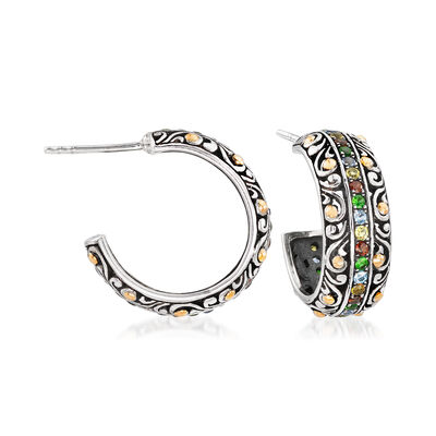 .80 ct. t.w. Multi-Gemstone Balinese C-Hoop Earrings in Sterling Silver with 18kt Gold, , default