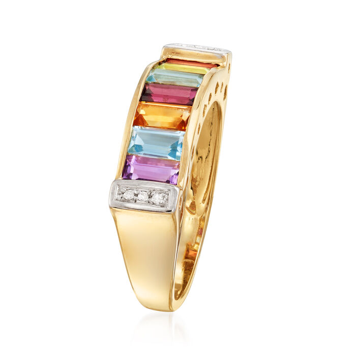1.50 ct. t.w. Multi-Gemstone Ring with Diamond Accents in 14kt Yellow Gold