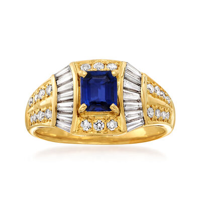 C. 1980 Vintage .73 Carat Sapphire and .84 ct. t.w. Diamond Ring in 18kt Yellow Gold