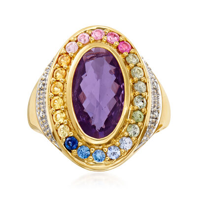 C. 1980 Vintage 3.45 Carat Amethyst and 1.10 ct. t.w. Multicolored Sapphire Ring with Diamond Accents in 14kt Yellow Gold