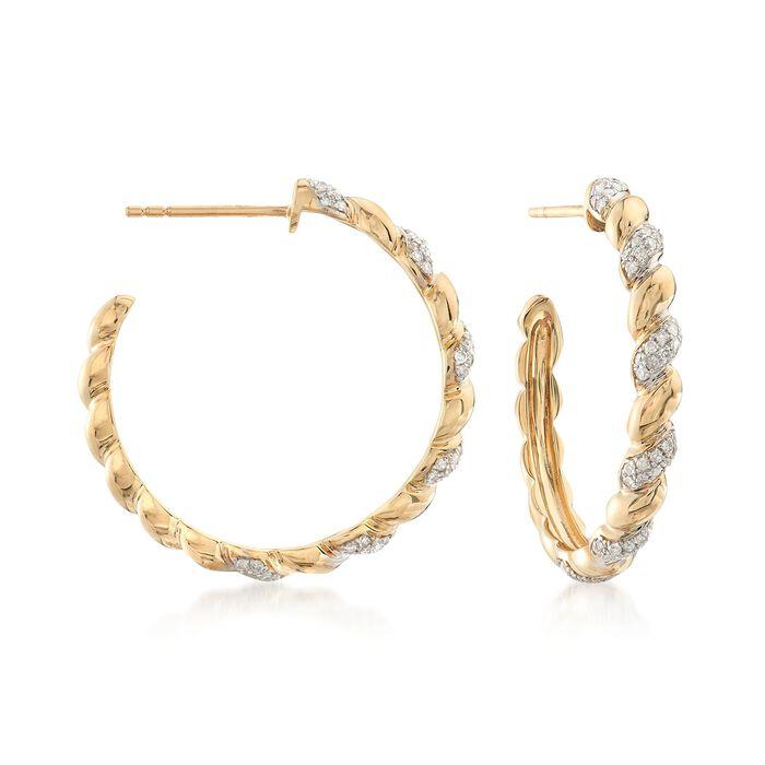 ".44 ct. t.w. Diamond Twisted Hoop Earrings in 14kt Yellow Gold. 1"", , default"