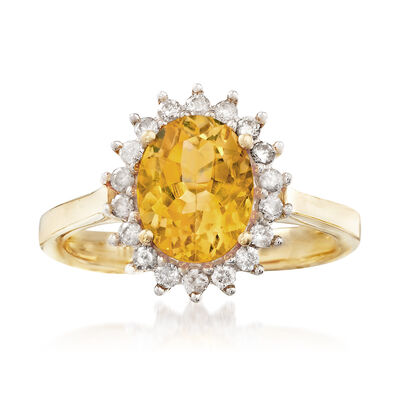 1.60 Carat Citrine and .25 ct. t.w. Diamond Ring in 14kt Yellow Gold, , default