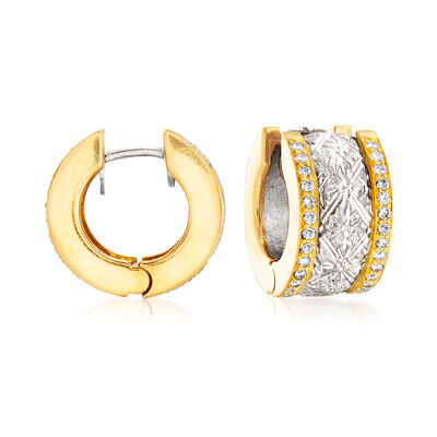 C. 1997 Vintage 1.40 ct. t.w. Diamond Earrings with British Hallmark in 18kt Two-Tone Gold and Platinum, , default