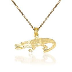 "14kt Yellow Gold Alligator Pendant Necklace. 18"", , default"