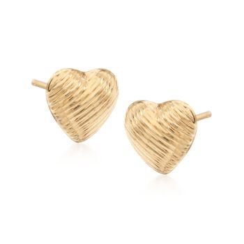 14kt Yellow Gold Textured Heart Stud Earrings, , default