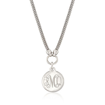 Sterling Silver Personalized Disc Necklace
