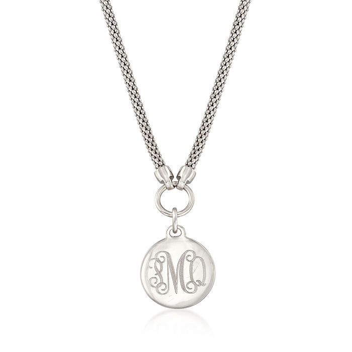 Sterling Silver Personalized Disc Pendant Necklace, , default