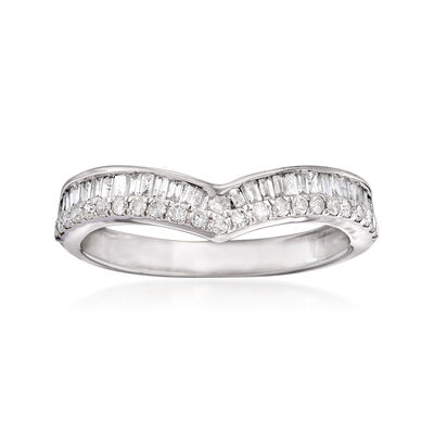 .50 ct. t.w. Round and Baguette Diamond Chevron Ring in 14kt White Gold, , default