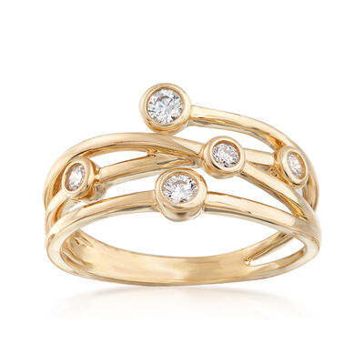 .20 ct. t.w. CZs Bezel-Set Crisscross Ring in 14kt Yellow Gold, , default